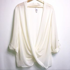 WaynneLayers Sheer Cream  Longs Sleeve Blouse XL